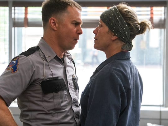 """Sam Rockwell, left, and Frances McDormand star in """"Three Billboards Outside Ebbing, Missouri."""" The movie opens Dec. 1 at Frank Theatres Queensgate Stadium 13."""