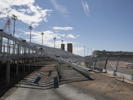 About 150 construction workers helped to build the shell to the grandstands. (2017 photo)