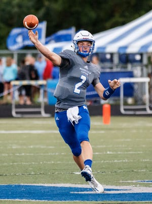 Brookfield Central quarterback Drew Leszczynski (2) delivers a pass during the game at home against Wauwatosa East on Thursday, August 17, 2017.