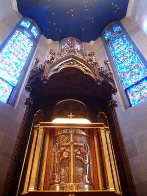 The enhanced tabernacle at Sacred Heart Cathedral is from the old St. Philip Neri Church in Rochester.