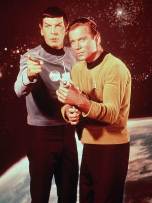"File: Leonard Nimoy, left, and William Shatner star in the television series ""Star Trek."""