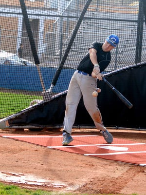 Cavemen junior first baseman Will Fiala takes a swing at the ball during Tuesday's practice. Carlsbad will take part in the Sal Puentes tournament, starting at 4 p.m. Thursday.