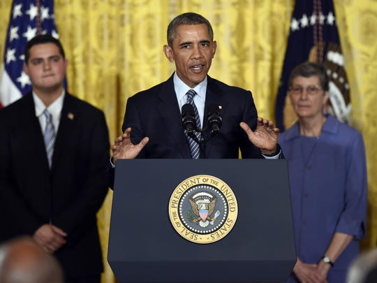 President Barack Obama speaks about his Clean Power Plan, Monday, Aug. 3, 2015, in the East Room at the White House in Washington. The president is mandating even steeper greenhouse gas cuts from U.S. power plants than previously expected, while granting states more time and broader options to comply. (AP Photo/Susan Walsh)