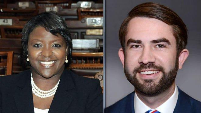 Sen. Tonya Anderson, left, and Rep. Houston Gaines, right