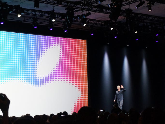 Apple CEO Tim Cook takes the stage for the keynote address at Apple's Worldwide Developers Conference on Monday at the Moscone Center in San Francisco.