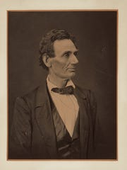 """Alexander Hesler's photograph from a classic 1860 campaign negative, silver print, 1860, printed 1881, is one of the dozens of items on auction in """"The Harold Holzer Collection of Lincolniana"""" on Sept. 27 at Swann Galleries in New York City."""