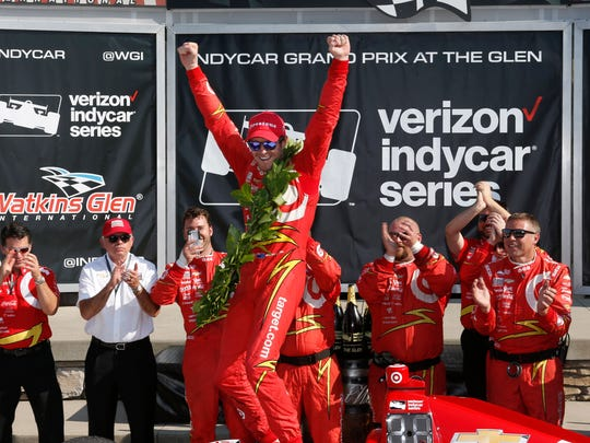 Scott Dixon, 36, enters the Verizon IndyCar Series season opener Sunday in the Grand Prix of St. Petersburg with a new engine manufacturer and a new sponsor on his No. 9 car. He is shown celebrating a win at Watkins Glen International.