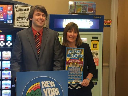New York Lottery's John Schnurr presents ceremonial