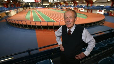 Norbert Sander, who won the 1974 New York City Marathon and headed the Armory track complex, is pictured overlooking the new track surface at The Armory (New Balance Track & Field Center) in upper Manhattan, Nov. 12, 2013. Sander passed away on March 17, 2017 at age 74.