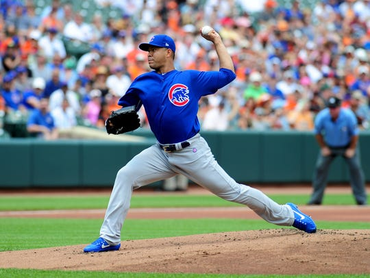 In his Chicago Cubs debut, left-hander Jose Quintana