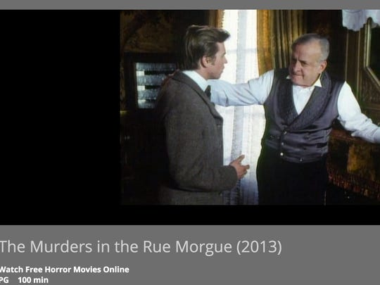 A screen shot of the FrightPix horror film streaming