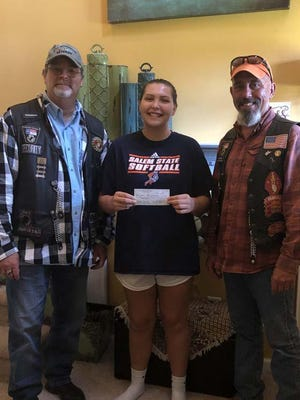 Rolling Thunder Chapter NC-5 recently awarded Payton Jeffers of Richlands the SSgt Anthony L. Goodwin Memorial Scholarship. She is a graduate of Richlands High School and plans to attend Salem State University in Salem, Massachusetts. Presenting the scholarship check are NC-5 members Joe Fore and Ray Howe.
