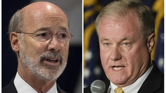 FILE--This combination of October 2017 file photos shows Pennsylvania gubernatorial candidates Democrat Gov. Tom Wolf, left, and Republican Scott Wagner. Ending the ability of school boards to raise billions of dollars in school property taxes is a prominent campaign plank for Republican gubernatorial candidate Scott Wagner, one that he consistently advocates as a salve for overburdened taxpayers and fixed-income elderly struggling to keep their homes. What he doesn't say is how politically thorny and unrealistic it is when it comes to winning passage in the state Legislature. (AP Photo/Matt Rourke, FILE)
