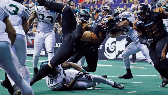 Whether the Rattlers continue to use lineman Michael Huey (center) as a fullback, like they did last week against San Jose, will be one of the key storylines for this year's ArenaBowl.