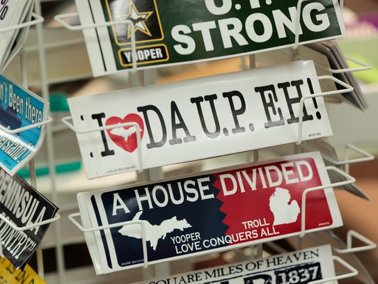 Bumper stickers for sale are seen at Da Yoopers Tourist