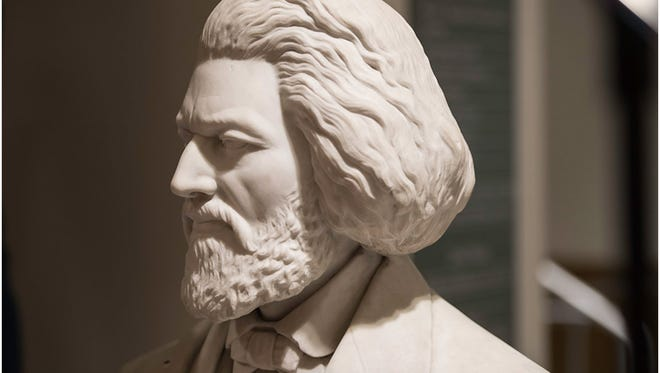 This bust of Frederick Douglass was created by Johnson Mundy and dedicated in 1879. It's now in the Frederick Douglass Commons at the University of Rochester.