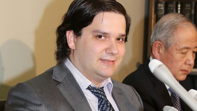 Mark Karpeles, president of Mt. Gox bitcoin exchange, speaks during a new conference in Tokyo on Feb. 28.