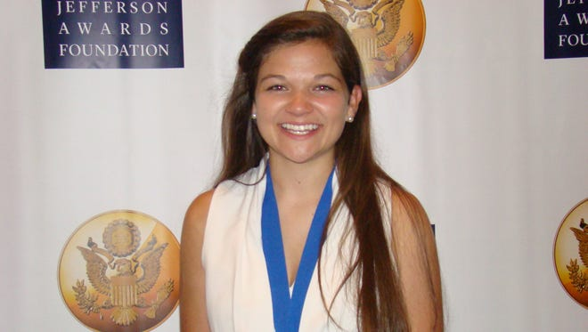 Emma Rider, 17, after receiving her Jefferson Award on Tuesday night.