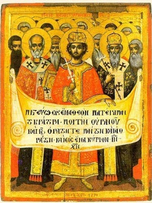 First Council of Nicea delegate Bishop Hosius announces the newly adopted Nicene Creed on June 19, 325.