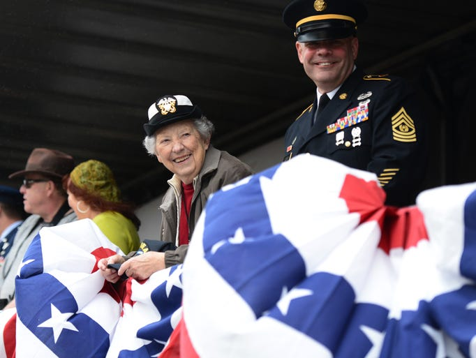 Grand Marshal Ida Stemple, 90, who served in the Navy