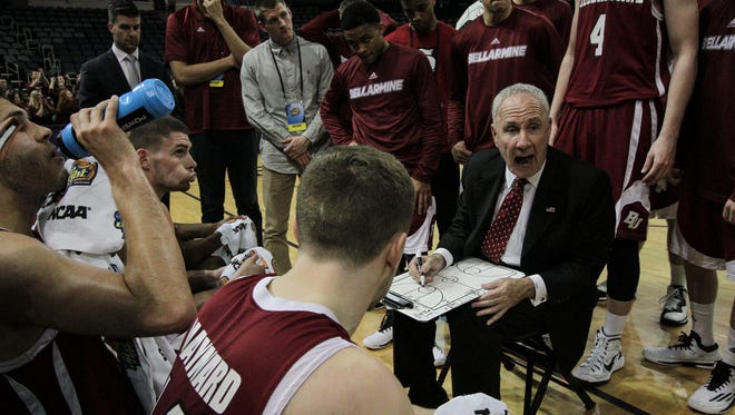 Bellarmine head coach Scott Davenport guides his team during a second half timeout while playing Florida Southern in the 2015 NCAA Division II Semifinal #2 at the Ford Center in Evansville, In. March 26, 2015.
