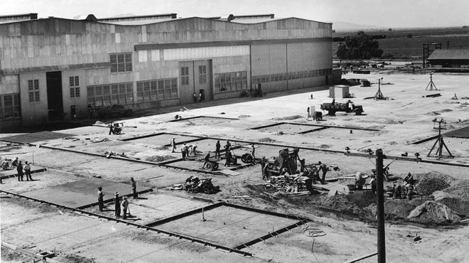 P.W. Litchfield headed construction of Goodyear Aircraft Corporation- Goodyear at  Litchfield Road and Western (Yuma) Avenue.