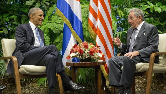 President Barack Obama meets with Cuban President Raul Castro at the Palace of the Revolution, Monday, March 21, 2016 in Havana, Cuba.
