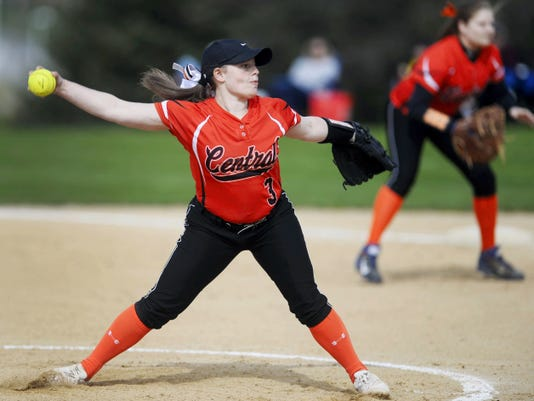 Central York's Kayla Resh pitches against Dallastown earlier this season. Not a big strikeout pitcher, Resh depends on her defense as the Panthers have advanced to the YAIAA softball championship.