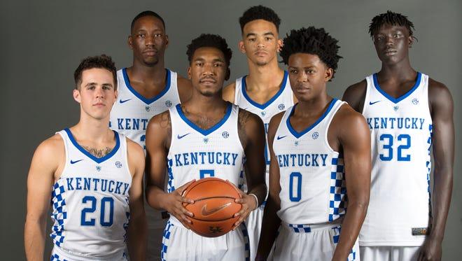 "2016-17 UK basketball freshman players. Left to right front row; Brad Calipari, Malik Monk, De'Aaron Fox. Back row; Edrice ""Bam"" Adebayo, Sacha Killeya-Jones and Wenyen Gabriel. Sept. 15, 2016"