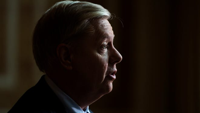 Sen. Lindsey Graham expresses his thoughts on topics such as North Korea, Syria, healthcare reform and offshore drilling in the South Carolina coast at the Pointsett Club on Monday, May 1, 2017.