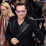 Bono attends to record the Band Aid 30 single on Saturday,  in London.