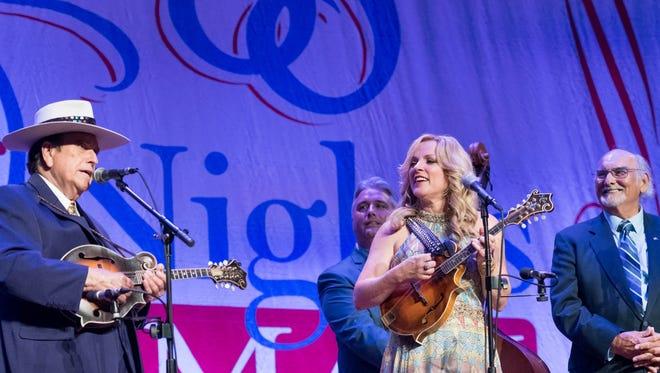 Left to Right: Bobby Osborne, Rhonda Vincent and Sonny Osborne perform at the Ryman Auditorium