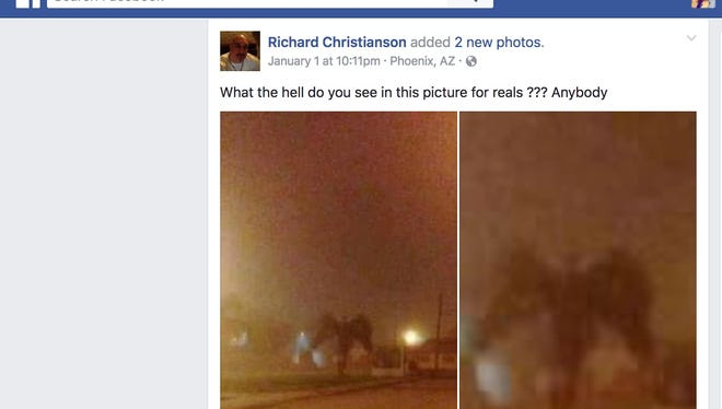 Richard Christianson posted a photo of what looks like a strange dark angel walking along a dark neighborhood. Photoshop or nah?