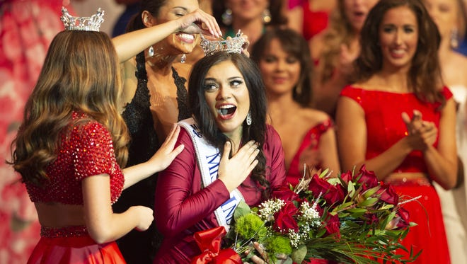 Miss Fort Wayne, Lydia Tremaine, Kendallville, Ind., is crowned Miss Indiana during the final night of competition of the Miss Indiana Pageant Week, Saturday, June 16, 2018, at Zionsville High School's Performing Arts Center.