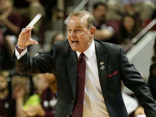 Mississippi State head coach Vic Schaefer shouts instructions to his players during the first half of a first-round game against Nicholls in the NCAA women's college basketball tournament in Starkville, Miss., Saturday, March 17, 2018. Mississippi State won 95-50. (AP Photo/Rogelio V. Solis)