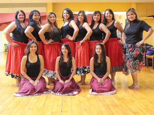 "First from right, Dorothy ""Dottie"" Marques, a hula dance instructor, is photographed along with her dance group during a hula dance class held at the GYM Guahan in Maite on Aug. 11."
