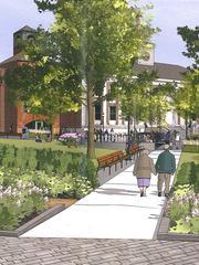 A rendering shows proposed changes to Burlington City Hall Park, as viewed from College and St. Paul streets. Submitted to the city Jan. 10, 2018.