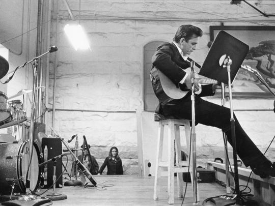 Johnny Cash performs at Folsom State Prison on Jan. 13, 1968.