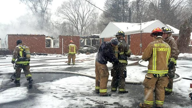 Firefighters were at the scene of a blaze at the Northville Montessori Center on Haggerty Road on Tuesday, March 3, 2015. The school has operated at the site since 1982, according to its website.
