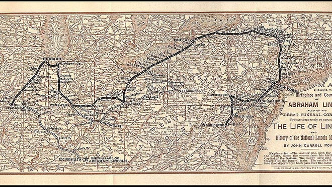 A map of President Abraham Lincoln's birthplace, the places that life took him, and his funeral route.