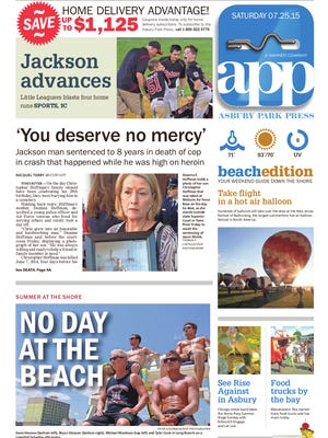Asbury Park Press front page, July 25, 2015