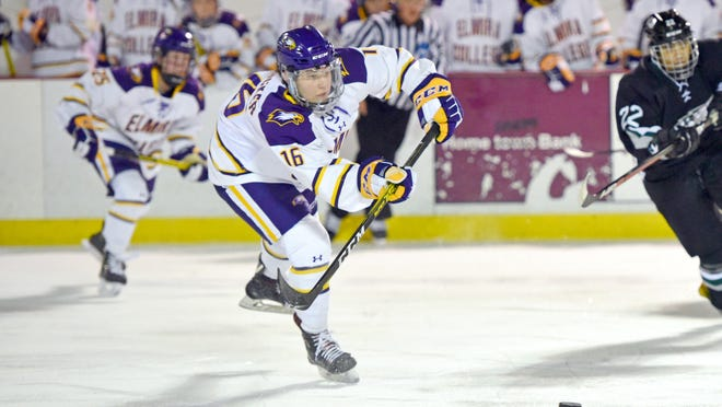 Abington resident Emma Crocker, who starred at Archbishop Williams, led the Elmira (N.Y.) College women's hockey team to the NCAA Div. 3 quarterfinals before the coronavirus halted the Soaring Eagles' season. Crocker was named an All-American and the conference's Player of the Year. Photo courtesy of Elmira College Athletics.
