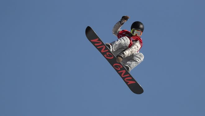 Jamie Anderson of the USA competes in the final of women's snowboarding big air.