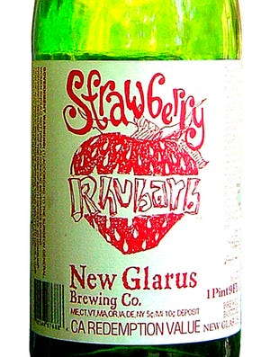 Strawberry Rhubarb beer from New Glarus Brewing Co., of New Glarus, Wis. is 4 percent ABV.