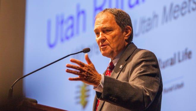 Governor Gary Herbert speaks at the Utah Rural Summit at Southern Utah University, Thursday, August 4, 2016.
