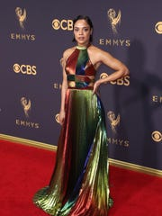 Tessa Thompson could rock any season in this rainbow-colored dress she wore on the red carpet at the Emmy Awards.