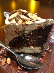 A slice of vegan chocolate mocha cake costs $5.95 at