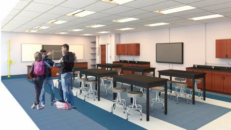 A tentative artist rendering of one of the two next-generation physics labs that will open at Wayne Valley High School this school year.