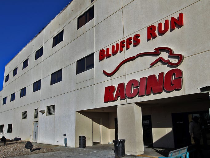 The south entrance at Bluffs Run Greyhound Park in Council Bluffs on Friday afternoon Jan. 17, 2014.    Wagering and attendance has plunged dramatically at dog tracks in Dubuque and Council Bluffs, with city and business leaders in both cities asking state lawmakers to let them close the dog tracks.