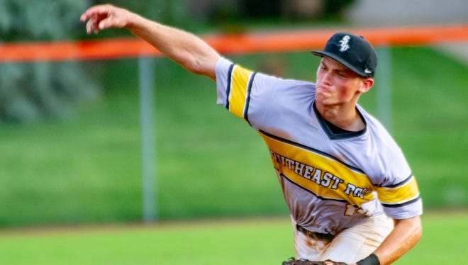 Southeast Polk's Evan Martin throws in relief last season against West Des Moines Valley. This season, Martin leads the team in runs batted in, stolen bases and walks; on the mound, he sports a sterling 0.68 earned run average.